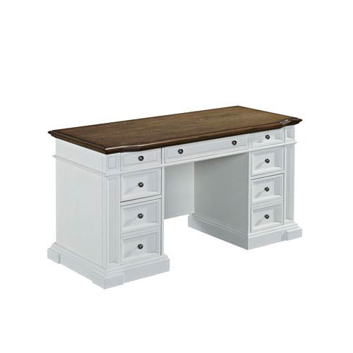 Americana White Pedestal Desk
