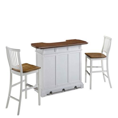 Home Styles Furniture Americana White Oak Bar And Two Stools