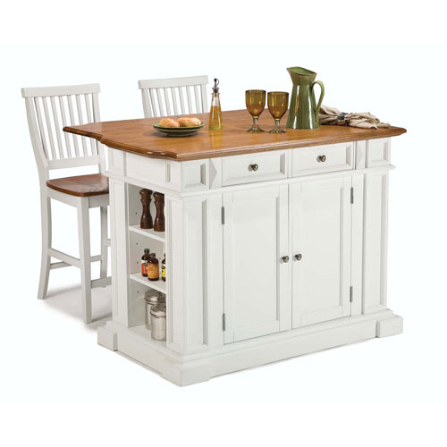 Kitchen Island and Stools White and Distressed Oak