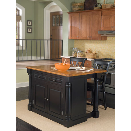Monarch Black and Distressed Oak Island and Two Stools