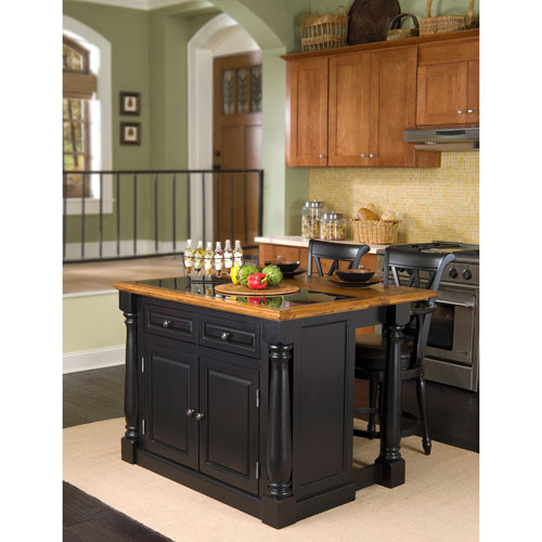 Home Styles Furniture Monarch Black Island with Granite Top and Stools