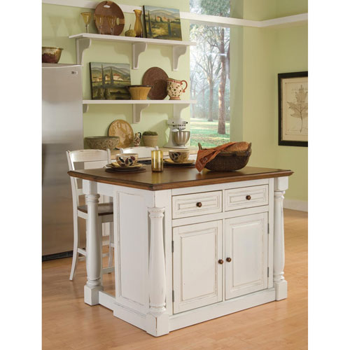 Monarch Antiqued White Kitchen Island and Two Stools