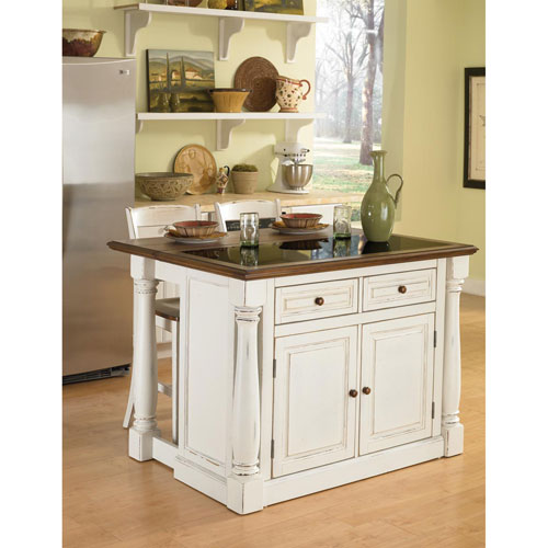 Home Styles Furniture Monarch Antiqued White Kitchen Island and Two Stools