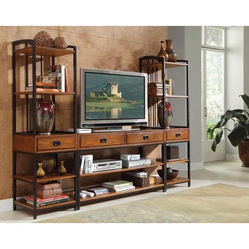 Home Styles Furniture Modern Craftsman Oak Three Piece Gaming Entertainment Center