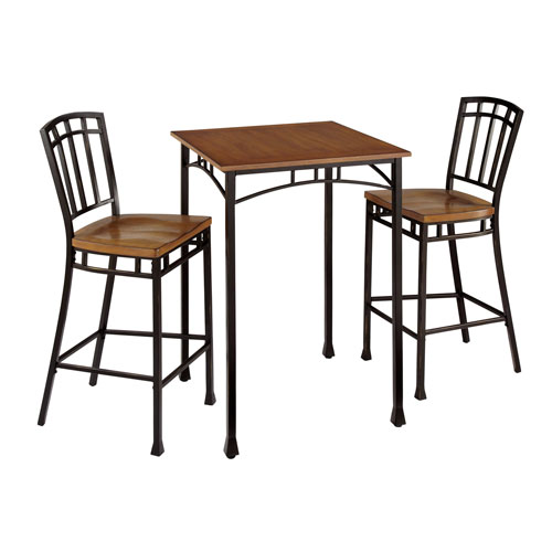 Modern Craftsman Oak and Brown 3-Piece Bistro Set