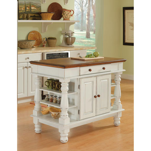 Americana Antique White Sanded Distressed Kitchen Island