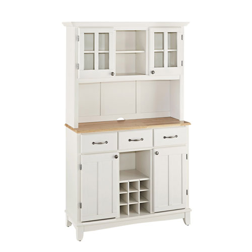 White Buffet with Two Door Hutch and Natural Wood Top