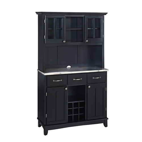 Black Buffet with Two Door Hutch and Stainless Top