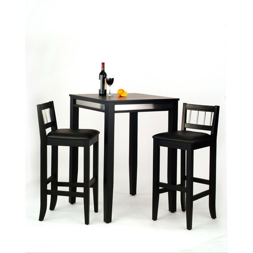 Manhattan Black Pub Table and Two Stools