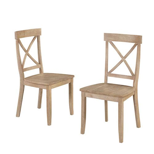 Classic Dining Set of X Back Design Chairs in White Wash Finish