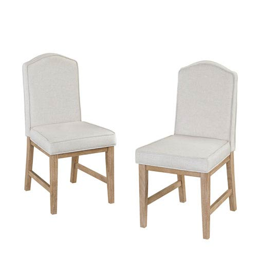 Classic Dining Set of Upholstered Chairs in White Wash Finish