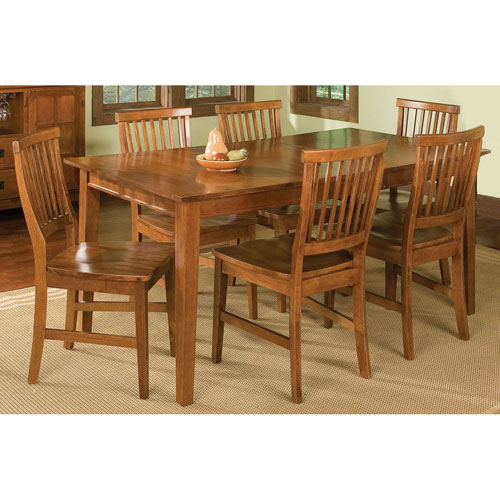 Arts and Crafts Seven-Piece Rectangular Dining Set Cottage Oak Finish