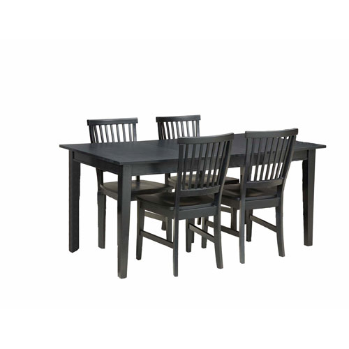Home Styles Furniture Arts and Crafts Five-Piece Rectangular Dining Set Black Finish