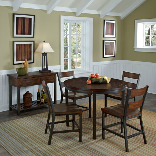 Home Styles Furniture Cabin Creek Multi-Step Chestnut 5-Piece Dining Set