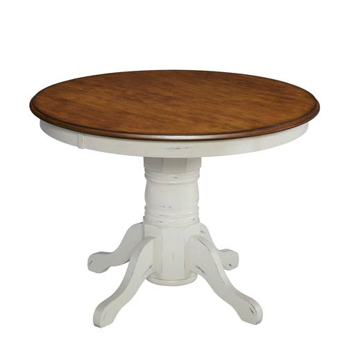 The French Countryside Oak and Rubbed White 30-Inch Pedestal Table