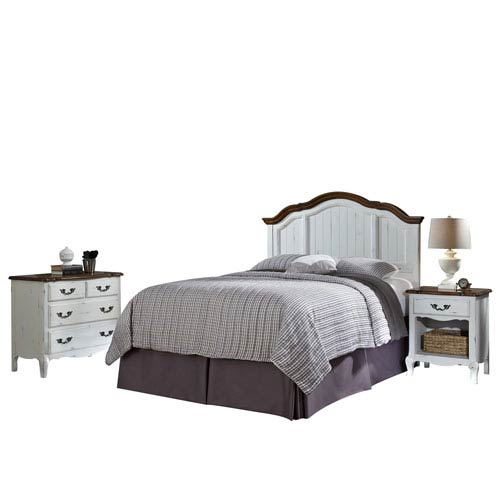 Home Styles Furniture The French Countryside Oak and White Full or Queen Headboard, Night Stand and Chest