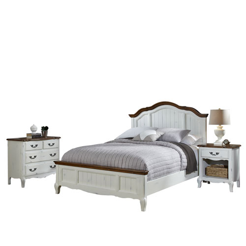 The French Countryside Oak and White Queen Bed, Night Stand and Chest