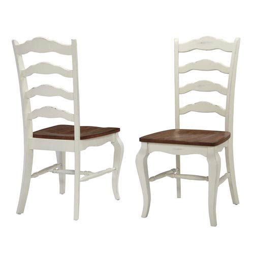 The French Countryside Oak and Rubbed White 40-Inch Dining Chair, Set of 2
