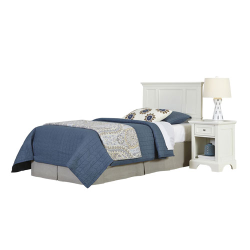 Naples White Twin Headboard and Night Stand