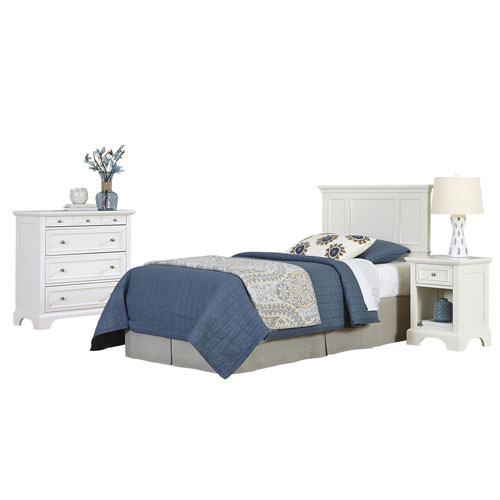 Naples White Twin Headboard, Night Stand, and Chest