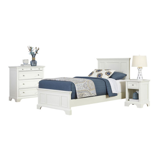 Naples White Twin Bed, Night Stand, and Chest