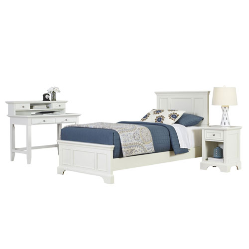 Naples White Twin Bed, Night Stand, and Student Desk with Hutch