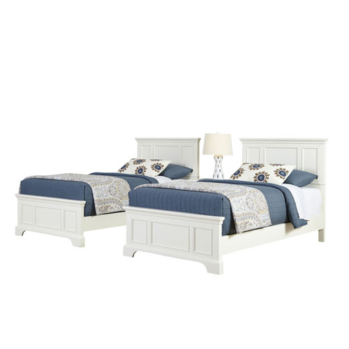 Naples White Two Twin Beds and Night Stand
