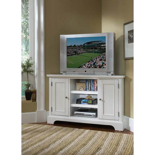 Naples White Corner TV Stand