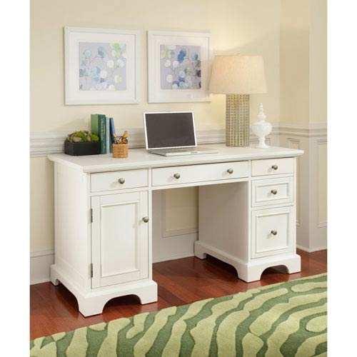 Naples White Pedestal Desk