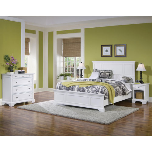 Home Styles Furniture Naples White Queen Bed, Night Stand, and Chest