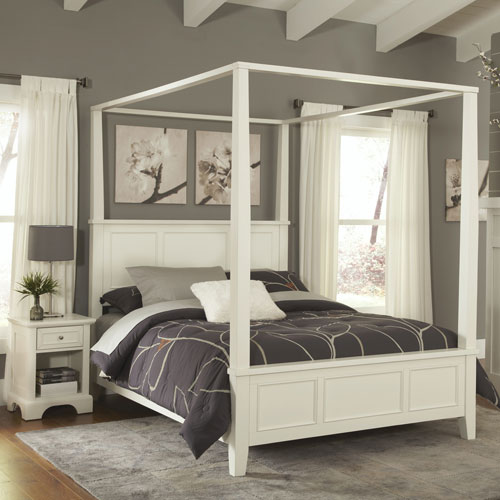 Naples White Queen Canopy Bed and Night Stand