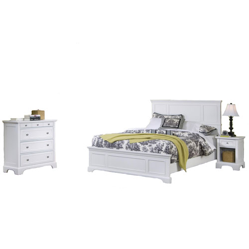 Home Styles Furniture Naples White 52-Inch King Bed, Night Stand and Chest