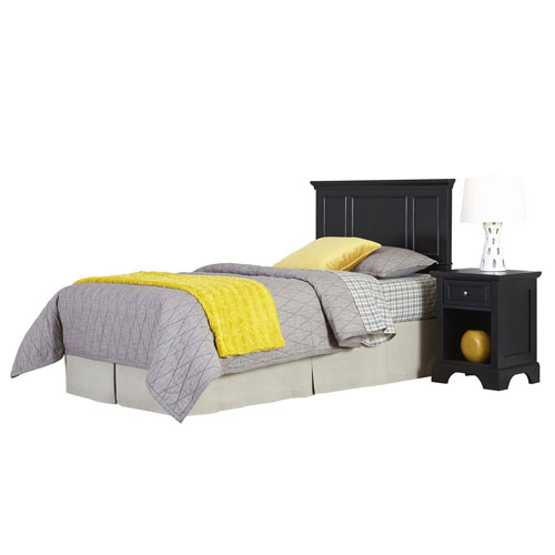 Home Styles Furniture Bedford Black Twin Headboard and Night Stand