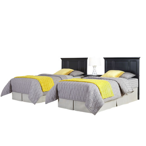 Bedford Black Two Twin Headboards and Night Stand