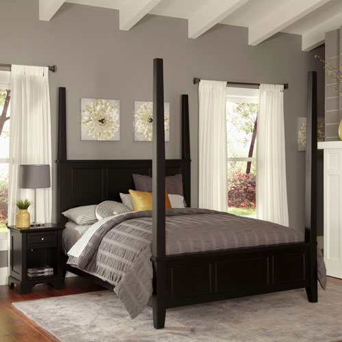 Home Styles Furniture Bedford Black Queen Poster Bed and Night Stand