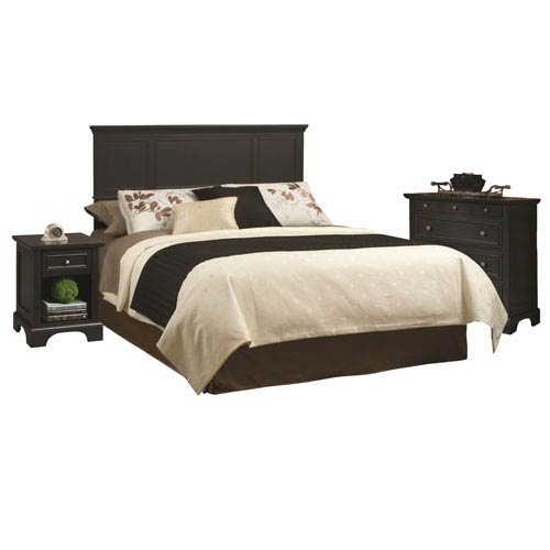 Bedford Black 52-Inch King Headboard, Night Stand and Chest