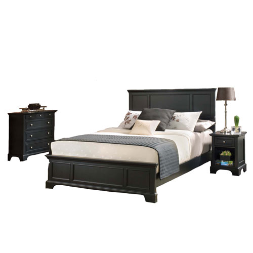 Bedford Black 52-Inch King Bed, Night Stand and Chest