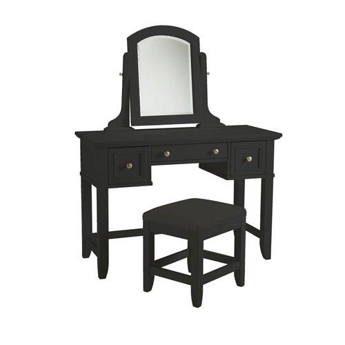 Home Styles Furniture Bedford Black Vanity Table and Bench