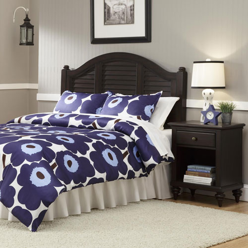 Home Styles Furniture Bermuda Espresso Queen Headboard w/ Night Stand