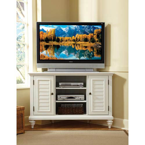 Home Styles Furniture Bermuda Textured Brushed White Corner Tv Stand