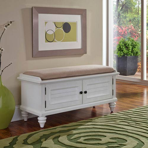 Bermuda Brushed White 47.25-Inch Wide Upholstered Storage Bench