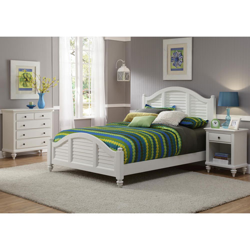 Home Styles Furniture Bermuda Brushed White Queen Three-Piece Bedroom Set