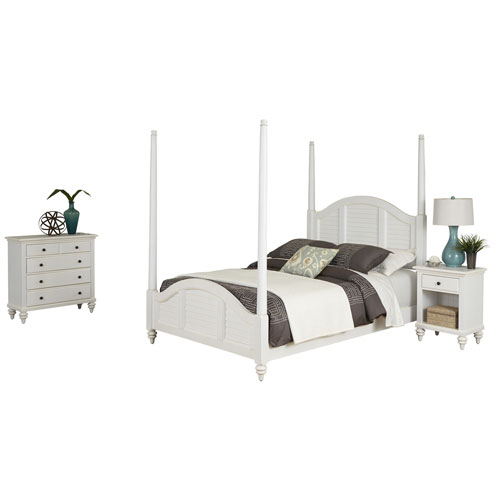 Home Styles Furniture Bermuda Brushed White Queen Poster Bed, Night Stand and Chest