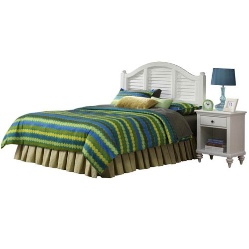 Home Styles Furniture Bermuda Brushed White King Headboard and Night Stand