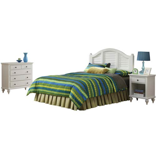 Bermuda Brushed White King Headboard, Night Stand and Chest