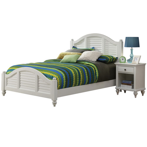 Home Styles Furniture Bermuda Brushed White King Bed and Night Stand
