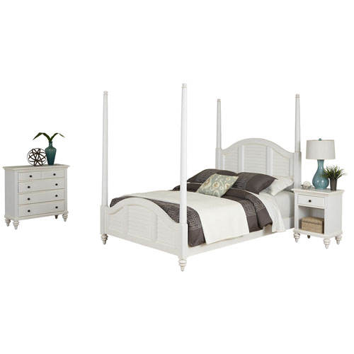 Bermuda Brushed White King Poster Bed, Night Stand and Chest