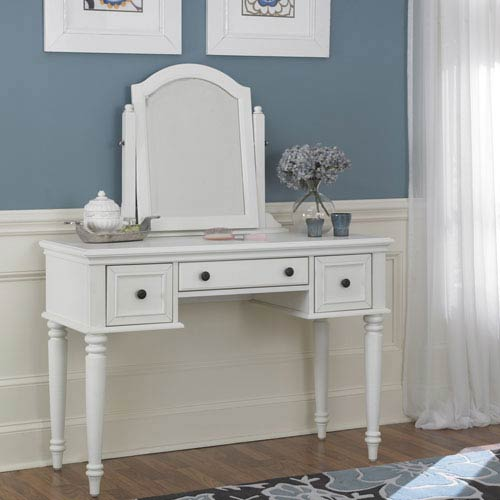 Home Styles Furniture Bermuda Vanity and Mirror White Finish