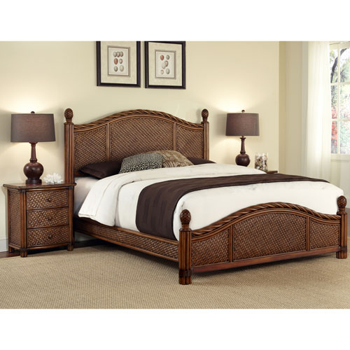 Home Styles Furniture Marco Island Queen Bed and Night Stand