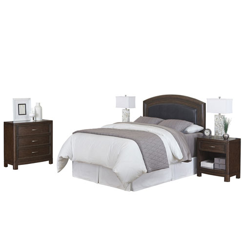 Crescent Hill Two-Tone Tortoise Shell King Leather Upholstered Headboard, Two Night Stands and Chest